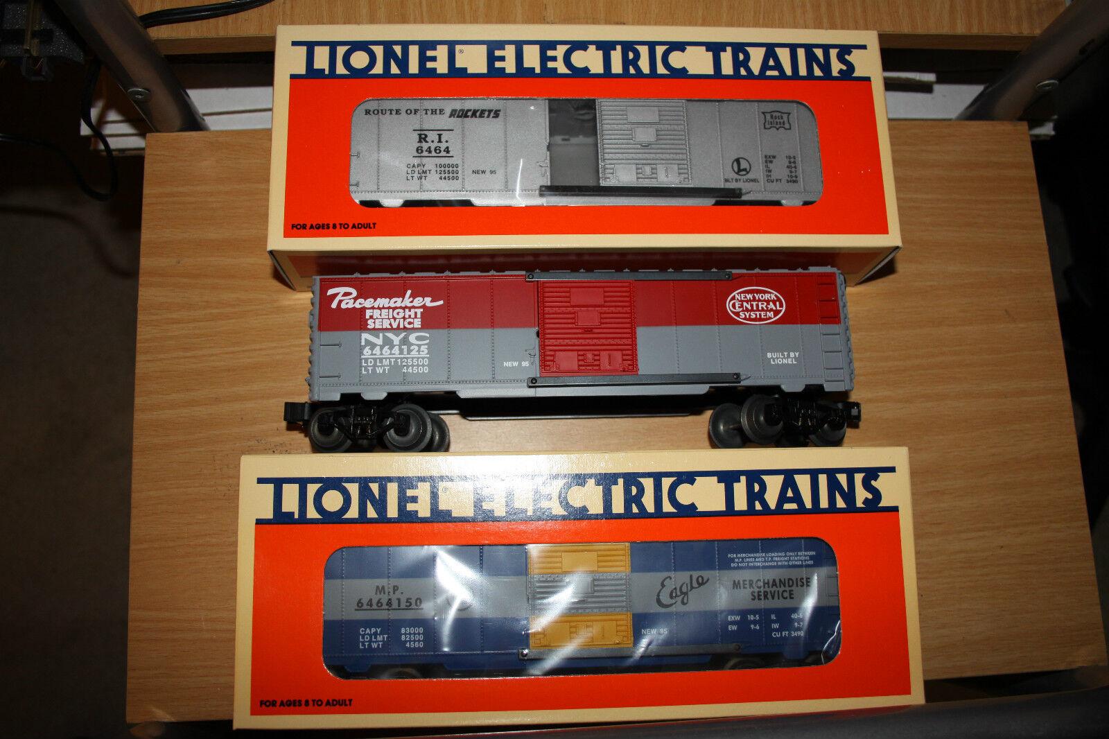 Lionel O gauge three box car set  Series 111 new old 6464 made 1995