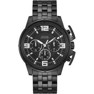Detalles de Reloj de Hombre GUESS APOLLO W1114G1 Chrono Acero Inoxidable Negro Sub 100mt