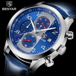 BENYAR Men's Date Leather Band 3ATM Military Army Sport Quartz Wrist Watch Gift