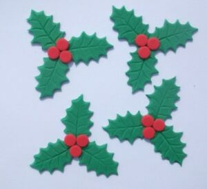 Details About 18 Edible Christmas Holly And Berries Cupcake Cake Topper Decoration Xmas Leaves