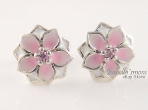 Magnolia Bloom Authentic Pandora Pink Flower Earring Studs 290739pcz