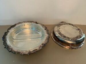 Vintage Sheridan Silver Company Serving Dish With Pyrex Vintage Slotted Bowl