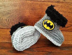 Baby Boy Hand Knitted Crochet Booties Boots Slippers Batman Super Hero 0-12M
