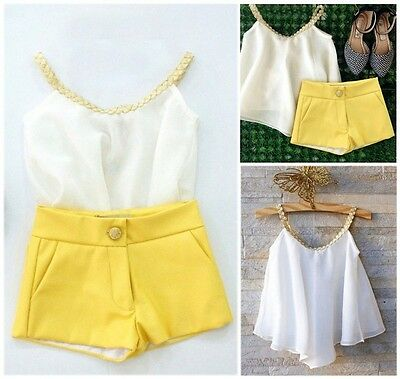 Kids Toddler Baby Girls Chiffon Clothes Halter Tops Shirt +Pants Outfits Summer