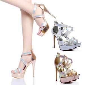c613ff6ef Hot Ladies High Heels Platform Shoes Bridal Prom Evening Party ...