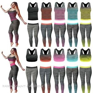 84b92a113e645 Ladies Vest Top   Legging Gym Wear 2Pc Set Girls Fitness Workout ...