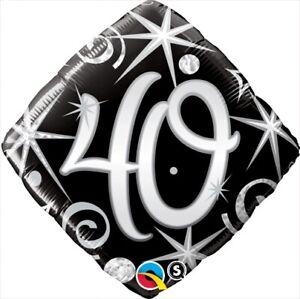 Foil-Balloon-18-034-45cm-40th-Birthday-Elegant-Sparkles-amp-Swirls-BIRTHDAY-PARTY