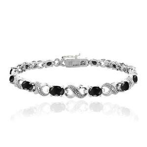 7-2ct-TGW-Genuine-Black-Sapphire-amp-Diamond-Accent-Infinity-Bracelet-in-Brass