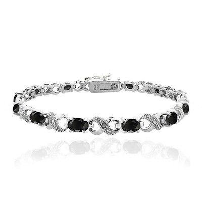 7.2ct TGW Genuine Black Sapphire & Diamond Accent Infinity Bracelet in Brass