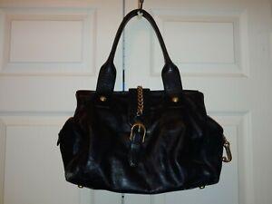 Women Black Leather Juicy Couture Shoulder Bag Chain Medium J Zipper Pull Flaws
