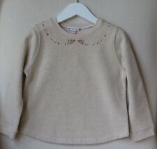 BONPOINT BABY GIRLS SPARKLY BEIGE SWEATER WITH JEWEL DETAIL 4 YEARS