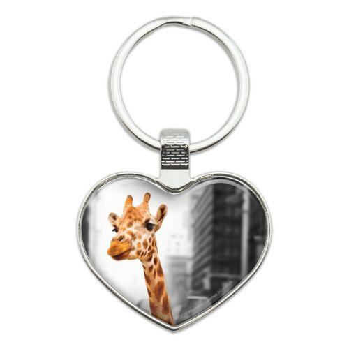 Giraffe in Taxi Heart Love Metal Keychain Key Chain Ring