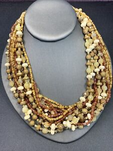 "Tan brown earthly multi strand Bohemian bright beaded necklace 18"" fancy clasp"