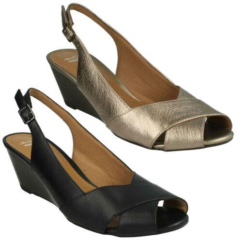 Clarks Mujer Abierta Vestido Punta Plataforma Hebilla Zapatos ffqvwrd