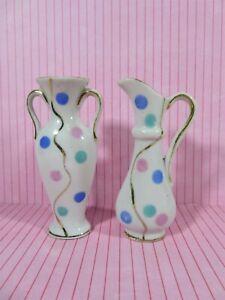 Vintage-Pair-Miniature-Porcelain-Bud-Vases-Pastel-Polka-Dots-Gold-Gilt-Japan-MCM