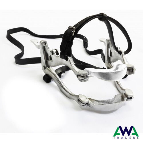 Speculum Forged Ratchets with Leather Straps Equine Dental Horse Mouth Gag