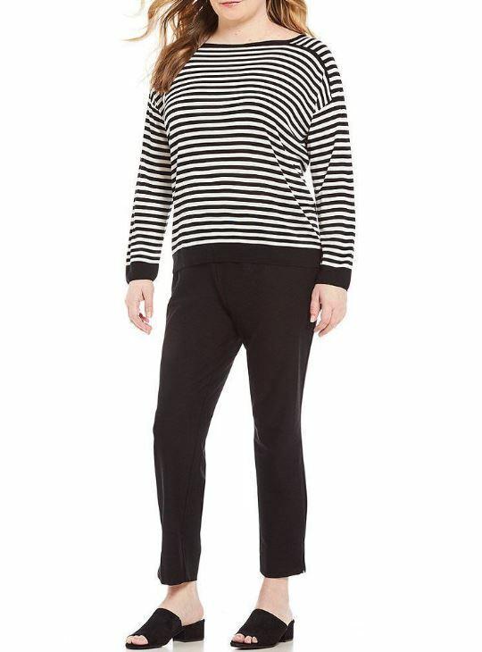 Eileen Fisher schwarz Soft Weiß Striped Tencel Bateau Boat Neck Box Top Plus 3X