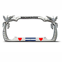 Nicaragua Palm Tree Chrome Tropical License Plate Frame Nicaraguan Flag Auto Tag