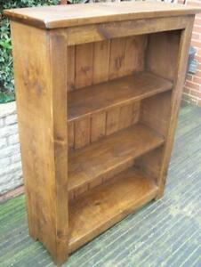 New Real Solid Wood Chunky Rustic Plank Pine Furniture Bookcase Bookshelves Ebay