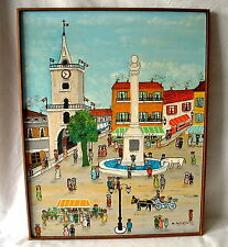 Ölgemälde  Marktplatz  mit Stadtbrunnen signiert M . POZZETTO Naive Kunst