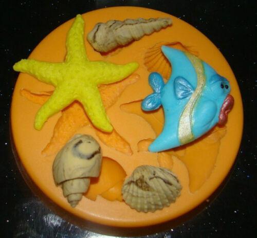 silicone mould fish starfish shells cake cupcake decorating wedding fimo resin