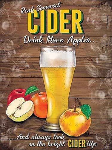 og Cidre boire davantage de pommes Large Acier Signe 400 mm x 300 mm