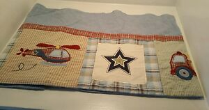 Kidsline Blue/Green Helicopter/Fire Truck/Plane Nursery/Baby Window Valance