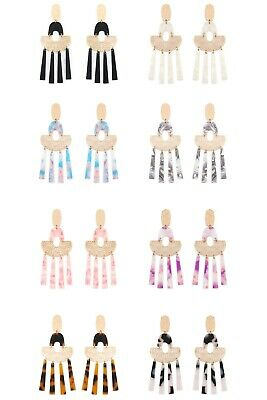 Variety colors available By DOBBI Oval Cast Smoked Design Post Dangle Drop Earrings