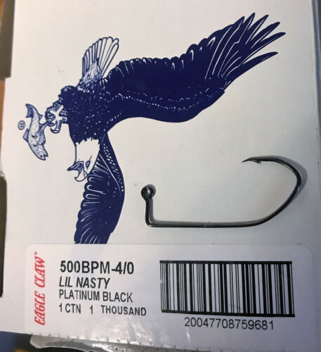 Eagle Claw 500BP 90 Degree Lil Nasty Hook 2//0-4//0 10pk In Stock Fast Shipping