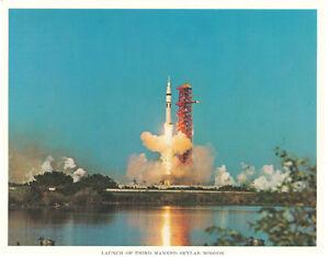 NASA-Skylab-Rocket-Launch-from-Florida-Original-Lithograph-Photo
