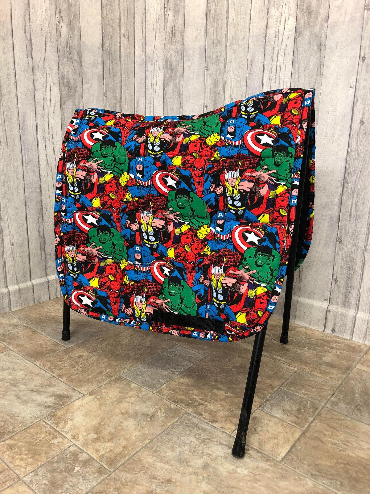 Nuevo Marvel Superhéroe Marvel caballo poni silla almohadilla único Pony Mazorca Completa Numnah