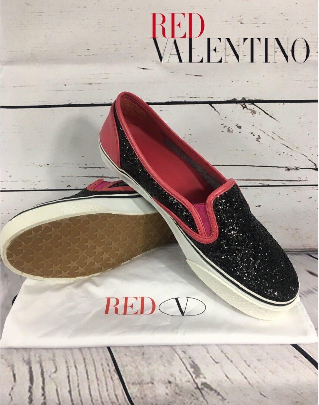 _66röd Valentino skor skor skor Slip -on Sz 39 SPARKLY  Made in SPANIEN RARE EUC  modern