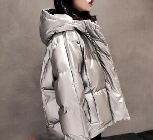 Top Puffer Thick Bt15 Winter Down Varm Piger Glans Frakke Glossy Short Women Chic xBZwq46AZ
