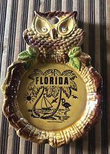Vintage Figural Owl Ceramic Hanging Spoon Rest Florida Souvenir Made in Japan
