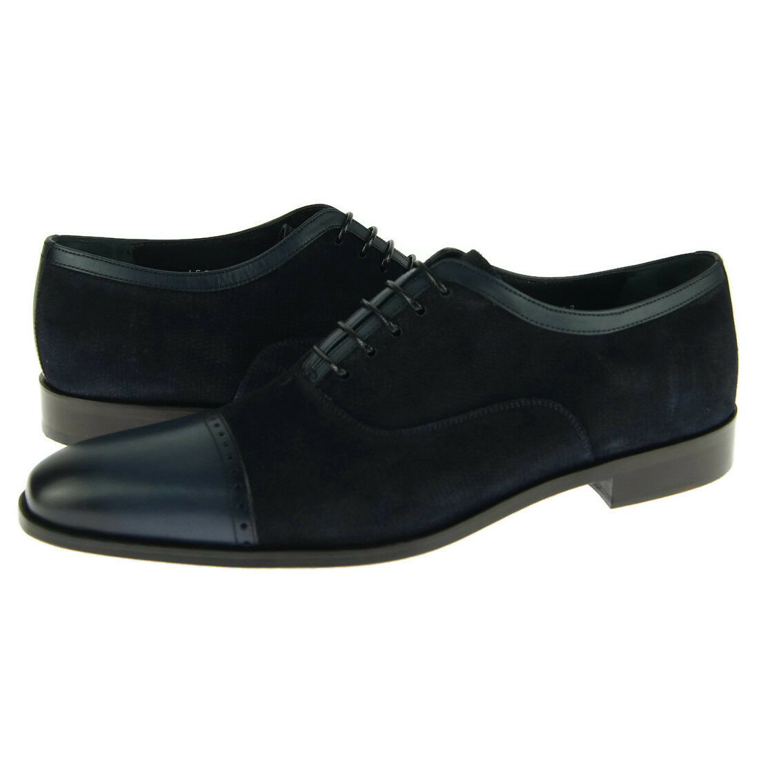 Corrente 4560 Cap Toe Oxford, Suede/Leather Men's Dress Shoes, Blue