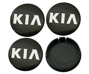 4x-60-55mm-KIA-Nabendeckel-Felgendeckel-Radkappen-Kappen-Silikon-Emblem-Schwarz