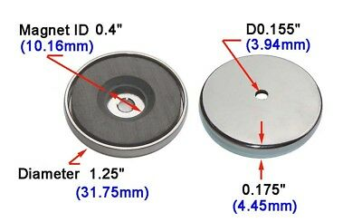 """1 pc of  D3.2/"""" x 0.420/"""" thick Round  Base Cup Magnet RB-80BLK"""