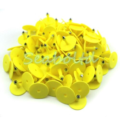 100Pcs Yellow Blank Plastic Livestock Ear Tag Animal Tag for Goat Sheep Pig