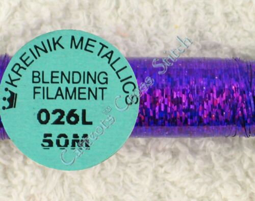 Kreinik Blending Filament 026L Punchy Purple Holographic Metallic Thread 50M