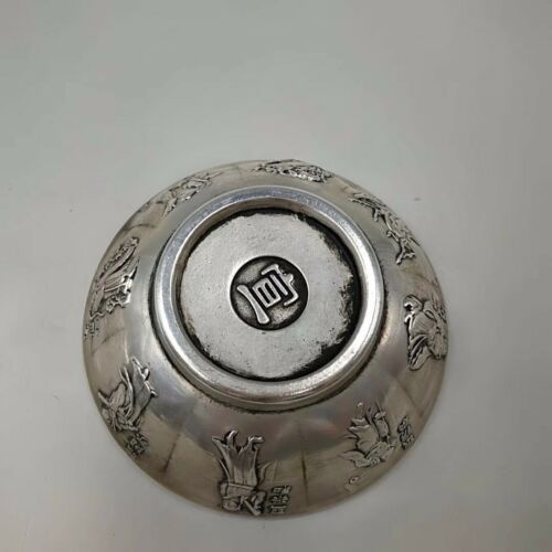 China Antique Brass Carving Eight Immortals Tibetan Silver Bowl