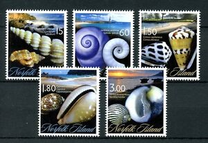 Norfolk-Island-2011-MNH-Seashells-5v-Set-Shells-Beaches-Marine-Stamps