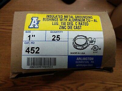 "Size 1/"" Arlington 452 Insulated Metallic Grounding Bushing Threaded"