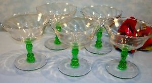 Set-of-5-Green-Stem-Depression-Glass-Champagne-Glasses