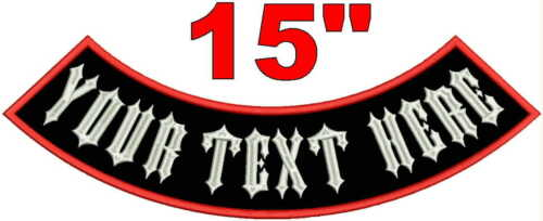 "Custom Embroidered 15/""  Bottom Rocker Patch MC Biker Motorcycle Club Jacket Vest"