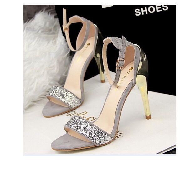 Elegante Sandaleeo stiletto tacco a spillo 10 cm moda  colore grigio 8668