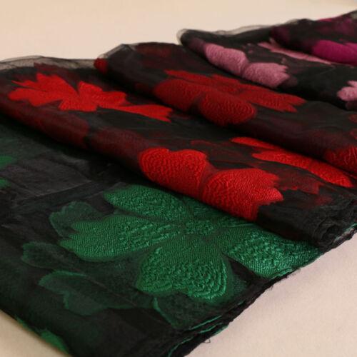 Women Flower Scarf Shawls Lady Organza Head Wrap Hijab Muslim Headwear 170*65cm