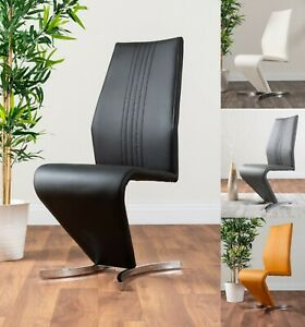 Details About 2x Willow Chrome Black White Grey Yellow Faux Leather Metal Dining Chairs Seats