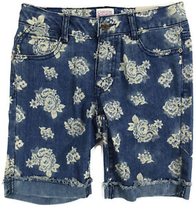 Girls-Bermuda-Jeans-Shorts-Size-12-Flowers-Canyon-River-Blues-Adjustable-Waist