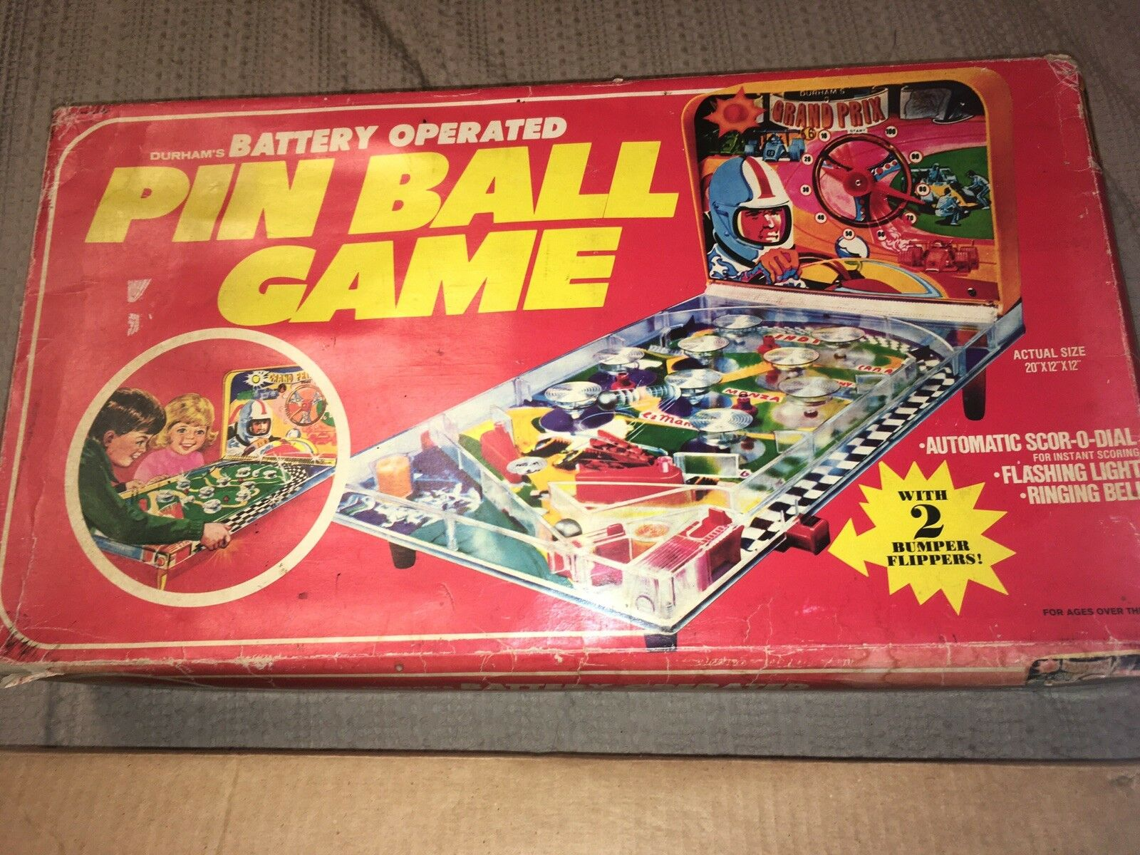 1975 Grand Prix Battery Operated Pinball Vintage Durham Industries Industries Industries Original Box 622f20
