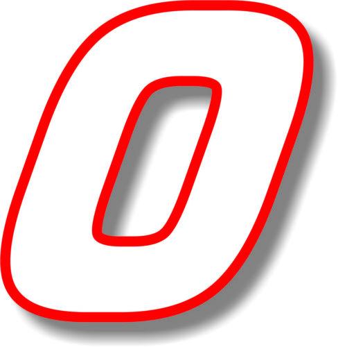 Numero bianco con bordo Rosso Vinile/Adesivo/GRAFICA RACE numero 6 in (ca. 15.24 cm)